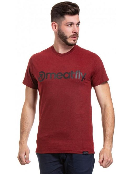Tričko Meatfly Logo Heather Dark Red