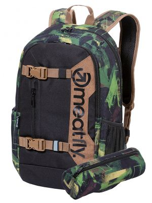 Batoh Meatfly Basejumper 6 substance camo, black 22l