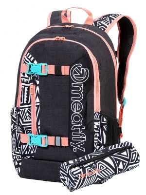 Batoh Meatfly Basejumper 6 Heather Charcoal, Dancing White 22l