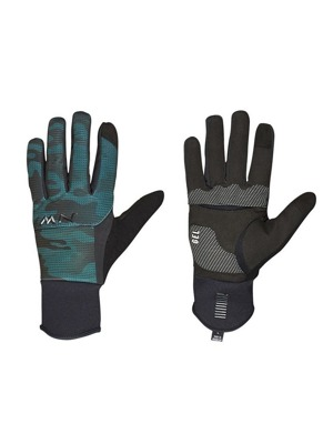 Cyklistické rukavice Northwave Power 3 Full black/green forest