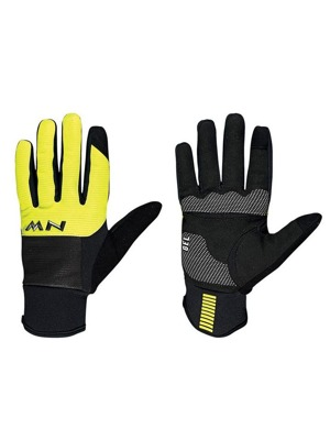 Cyklistické rukavice Northwave Power 3 Full black/yellow fluo