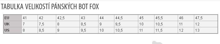 Tabulka velikostí bot FOX Boardmania.cz ebbcb9391d