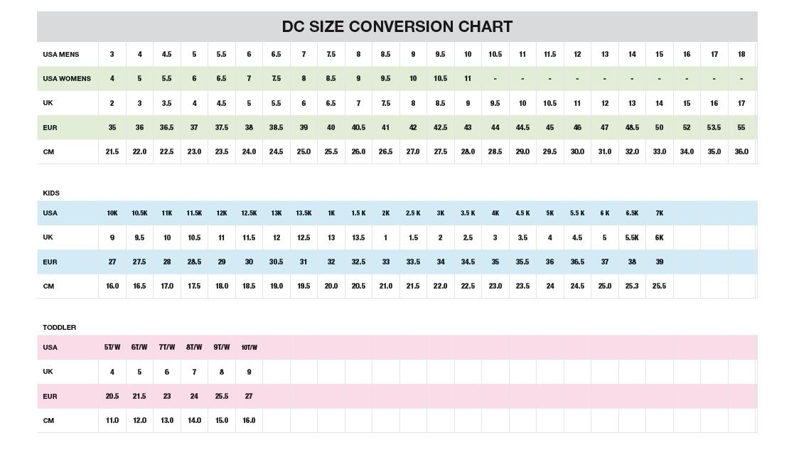 Tabulka velikostí bot DC Boardmania.cz 6141d278ba