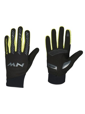 Cyklistické rukavice Northwave Core Full black/yellow fluo