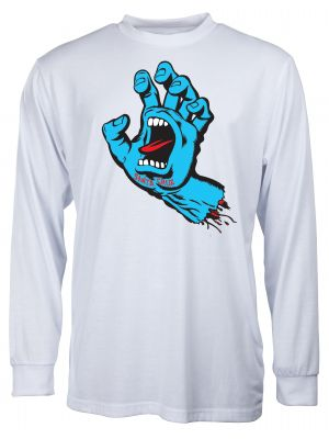 Tričko Santa Cruz Screaming Hand LS white