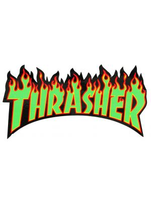 Samolepka Thrasher Flame Medium green