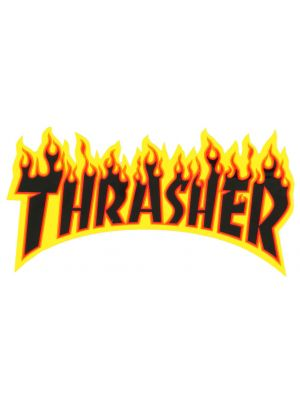 Samolepka Thrasher Flame Medium yellow black